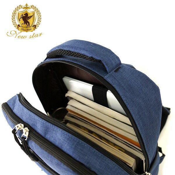 韓風簡約時尚防水雙層拉鍊多口袋後背包包 NEW STAR BK244 7