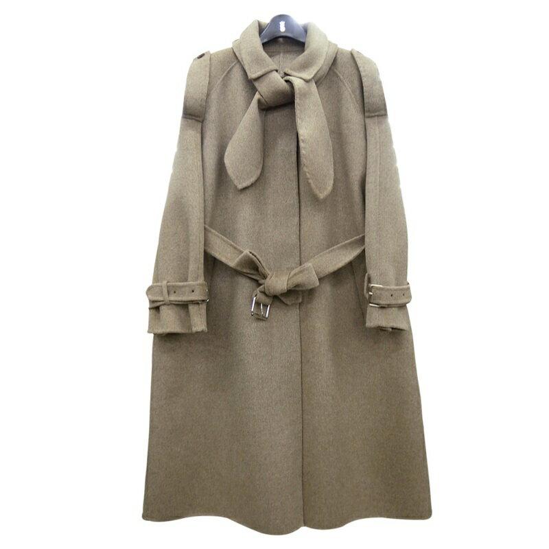 毛呢大衣羊毛外套-長版駝色繫帶兔子領女外套73wb11【獨家進口】【米蘭精品】 0