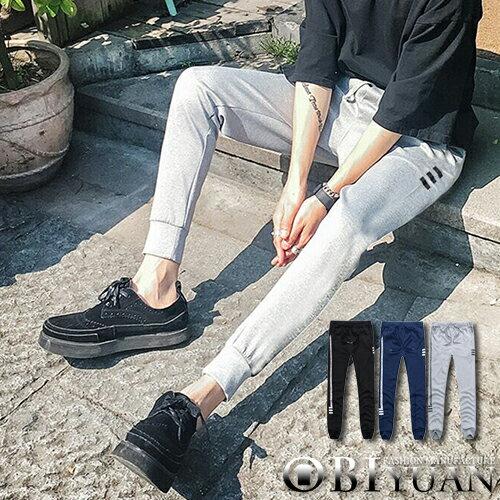 JOGGER棉褲【F55578】OBIYUAN韓版側邊排字字母條紋抽繩束口運動休閒褲共3色