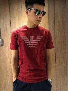 美國百分百【全新真品】EmporioArmani圓領EA短袖T恤老鷹logoT-shirt深紅J063