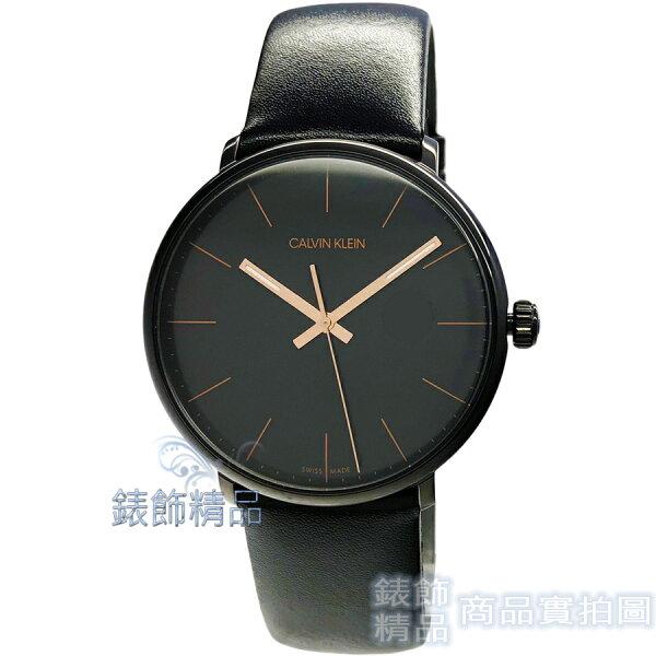 【錶飾精品】CalvinKleinCK手錶K8M214CB巔峰系列玫瑰金大三針鍍PVD黑黑色皮帶男錶