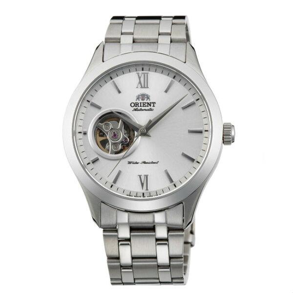 ORIENT東方錶SEMI-SKELETON系列(FAG03001W)藍寶石鏤空機械錶鋼帶款白色38.5mm