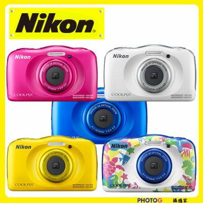 w100 【送32GB卡】 Nikon Coolpix W100   防水數位相機 藍 白 黃 粉 彩繪 五色可選  (國祥公司貨) 0