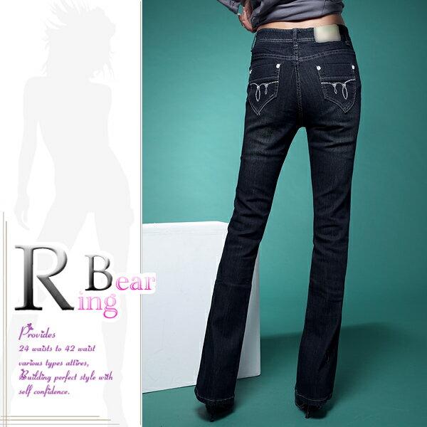 牛仔褲--絕對顯瘦素面側邊車線中腰小喇叭牛仔褲(S-7L)-N31眼圈熊中大尺碼 6
