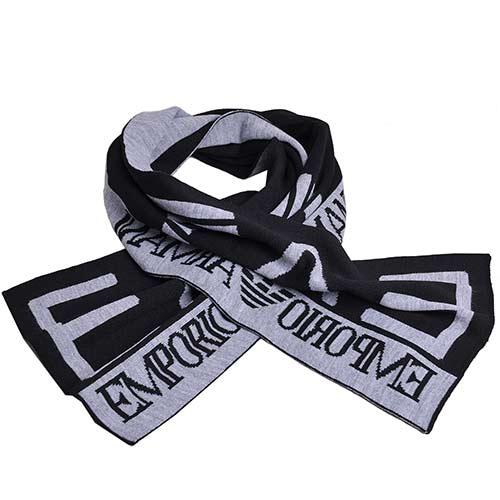 EMPORIO ARMANI EA7大字母LOGO高質感圍巾(黑/灰)