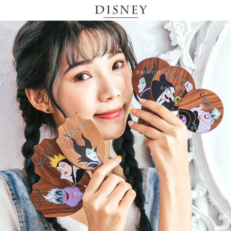 Disney迪士尼原木手拿鏡-反派系列 隨身鏡 化妝鏡 鏡子