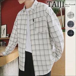 格紋長袖襯衫‧單口袋粗細雙線格紋長袖襯衫‧三色【NJ0607】-TAIJI-