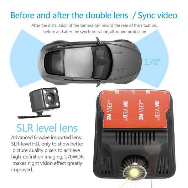 HD Wifi Dash Cam Dual Camera Dashcam 170 Angle Car Dash Camera Driving Recorder with Loop Recording G-Sensor 3