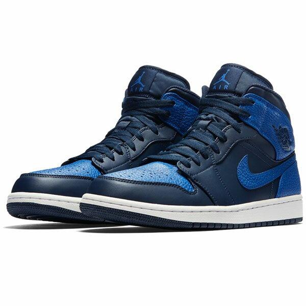 【NIKE】AIR JORDAN 1 MID 篮球鞋 运动鞋 蓝色 男鞋 -554724412