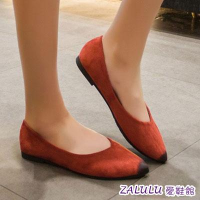 ☼zalulu愛鞋館☼ BE225 預購 好走百搭款純色尖頭平底鞋-偏小-黑/綠/紅/豹紋-36-40