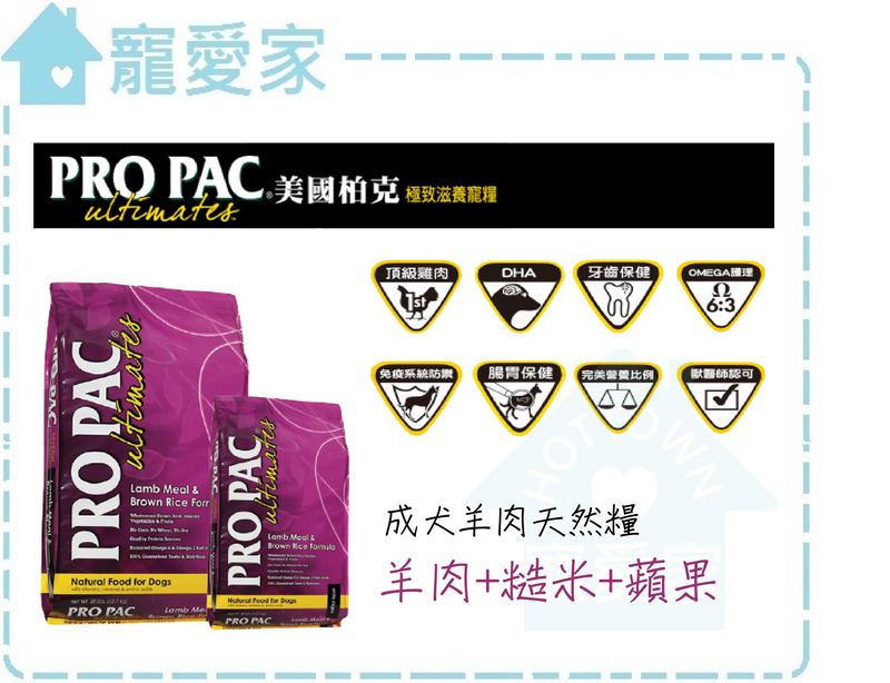 ☆寵愛家☆美國PRO PAC柏克全天然成犬配方-羊肉+糙米+蘋果 1lb .