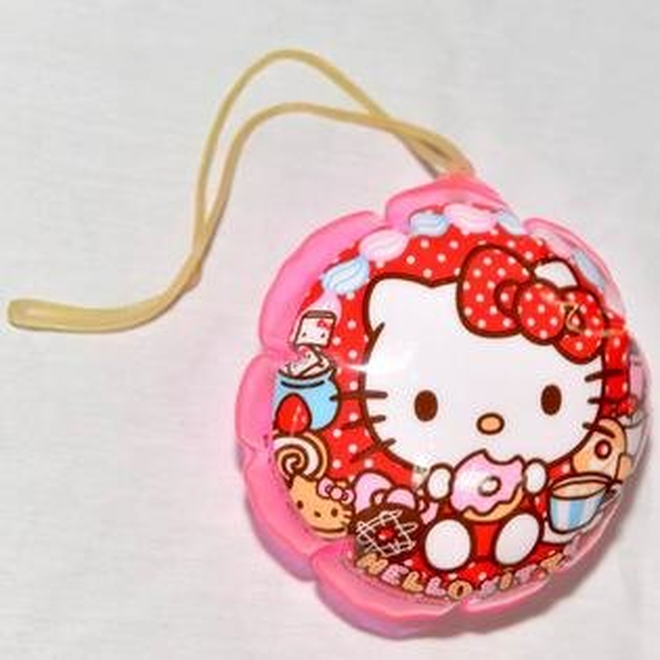 HelloKittyPVC充氣小球吊飾附橡皮筋日本正版