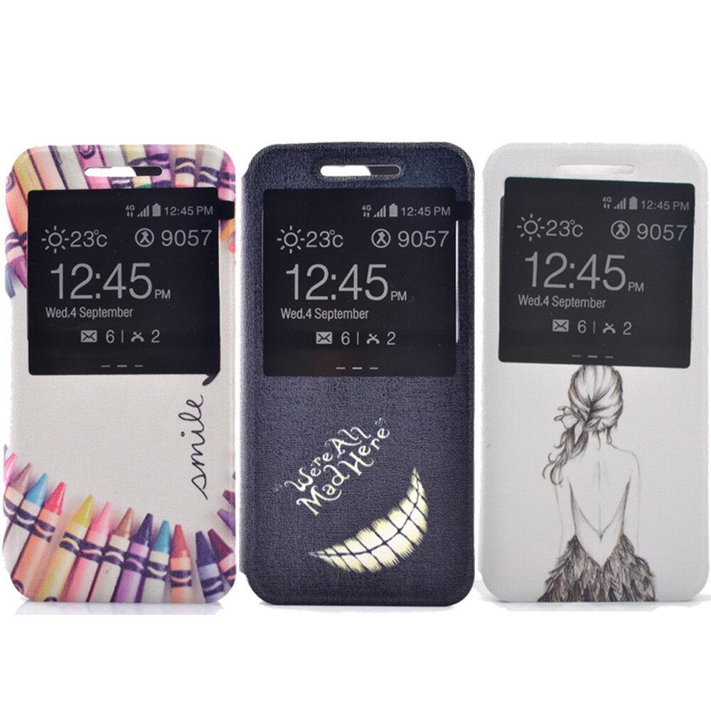 Samsung S7 edge 時尚彩繪手機皮套 側掀支架式皮套 仙境遊蹤/少女背影/蠟筆拼盤 0