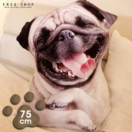 Free Shop:FreeShop創意3D仿真狗狗抱枕毛絨玩具動物公仔超大號娃娃可愛睡覺玩偶靠墊午睡靠枕【QBBMK6274】