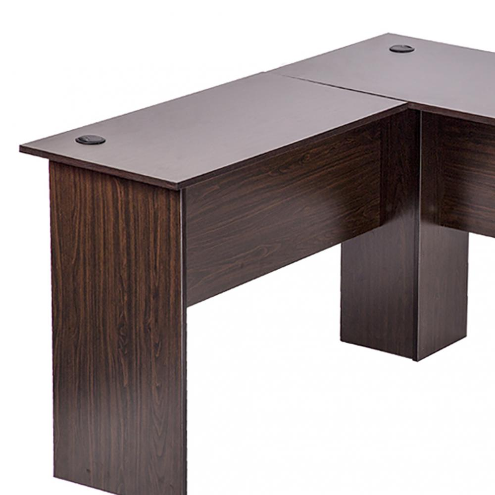 L Shaped Corner Computer Desk Brown 3
