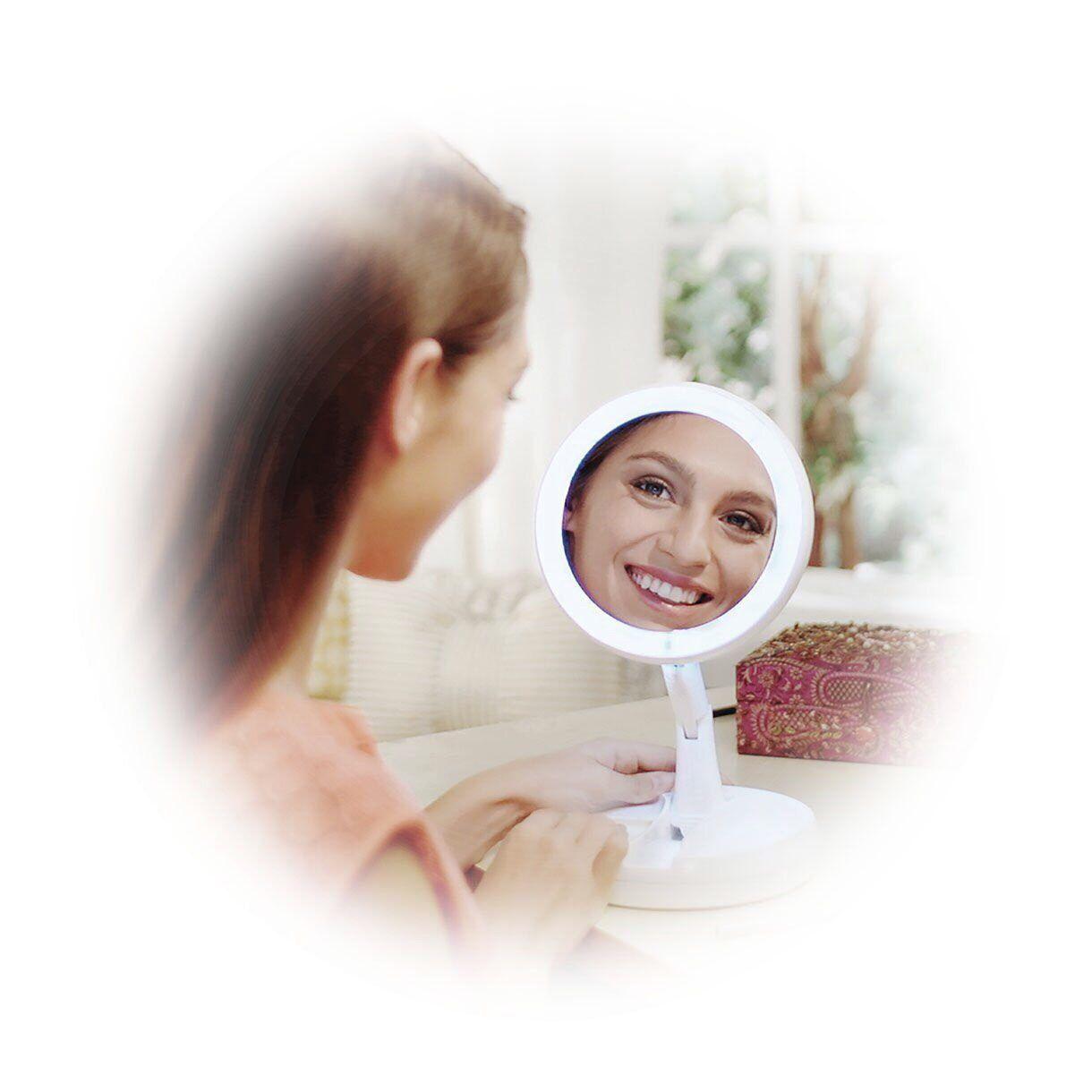倩姿LED補光摺疊煥彩鏡 折疊隨身化妝鏡 隨身鏡LED 化妝鏡補光鏡 LED燈鏡 補光鏡 折疊鏡 鏡子