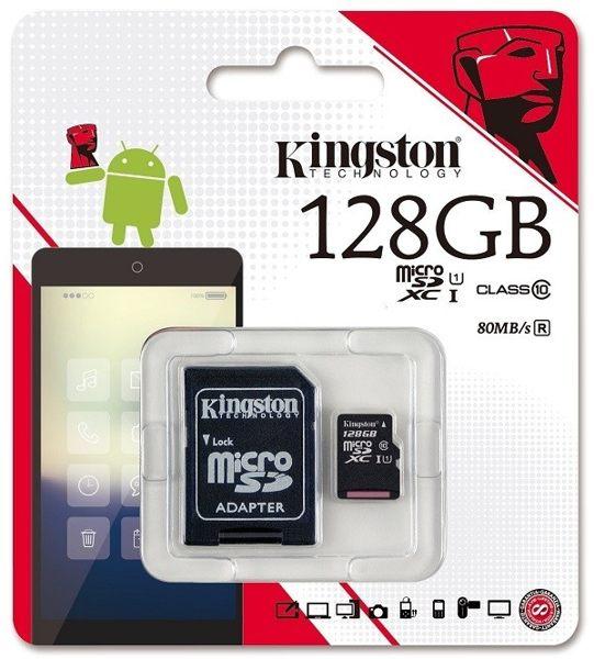 kingston金士頓公司貨128GB記憶卡含轉卡MicroSD Class10 C10高速記憶卡行車記錄器攝影機單眼手機