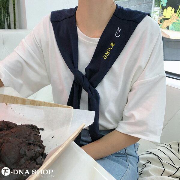 F-DNA★刺繡微笑可拆兩件式披肩圓領短袖上衣T恤(2色-M-2XL)【ET12690】 3