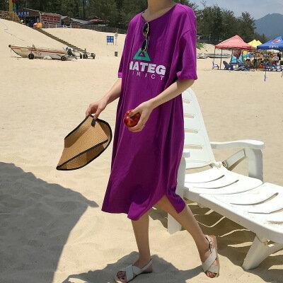 韓系女裝字母印花側開衩中長款短袖T恤裙連身裙洋裝樂天時尚館。預購