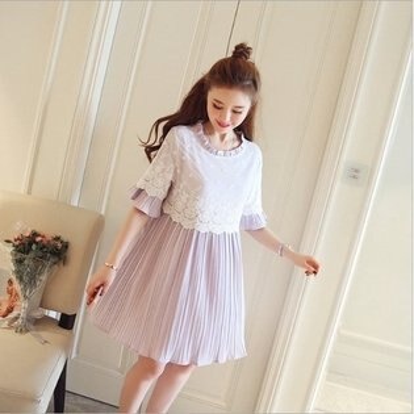 *漂亮小媽咪*韓國繡花蕾絲喇叭袖孕婦洋裝荷葉袖孕婦裝短袖百褶連身裙D9334