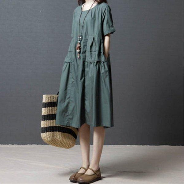 *漂亮小媽咪*簡約素雅純色柔軟輕薄棉麻短袖中大尺碼連身裙寬鬆孕婦裝D8102