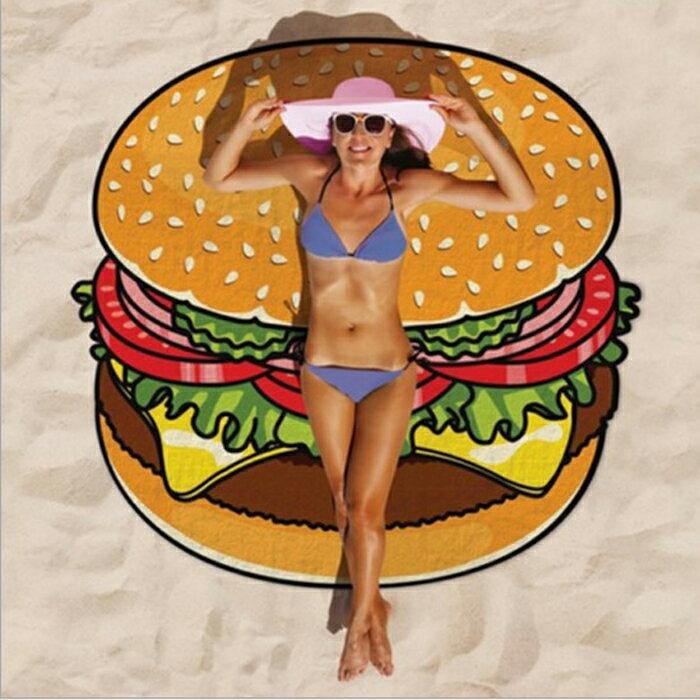 糖衣子輕鬆購【DZ0199】漢堡 披薩 甜甜圈 野餐墊 沙灘巾 披肩 草坪墊 露營 海邊 海灘墊