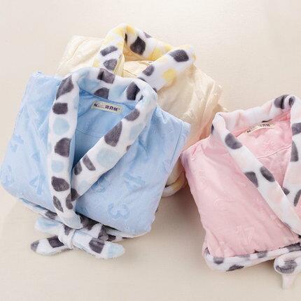 {萌寵寶貝}秋冬加厚長袖寶寶睡袍 珊瑚絨嬰兒睡衣七天預購+現貨