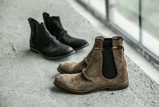 FINDSENSEMD日系高品質時尚潮男牛皮高絲光翻毛高幫低跟休閒鞋短靴