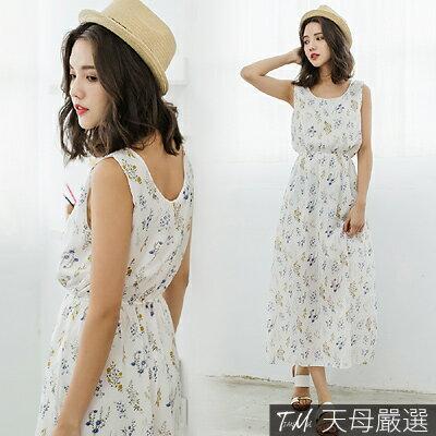 【天母嚴選】浪漫花卉圖騰無袖縮腰雪紡連身長洋裝(共三色) 1