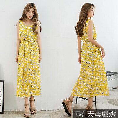 【天母嚴選】浪漫花卉圖騰無袖縮腰雪紡連身長洋裝(共三色) 2