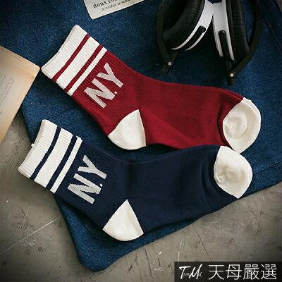 【天母嚴選】韓國空運.N.Y運動風棉質短襪