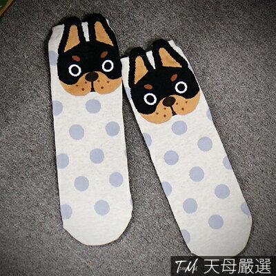 【天母嚴選】韓國空運.立體動物點點棉質平板襪