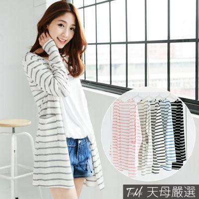 【天母嚴選】正韓-清新條紋雙口袋針織外套/罩衫(共五色)