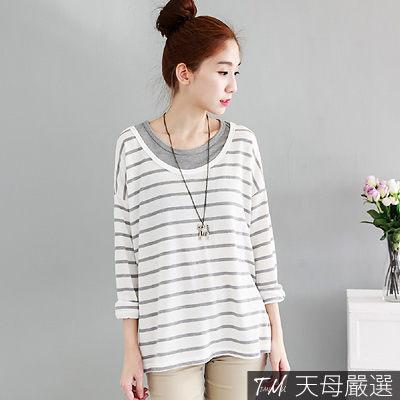 【天母嚴選】假兩件寬鬆條紋針織上衣(共三色)