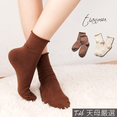 【天母嚴選】 正韓-純色捲邊棉質無痕中筒襪(共二色)