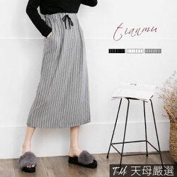 【天母嚴選】 正韓-直條紋後開衩修身棉質綁帶長裙(共三色)