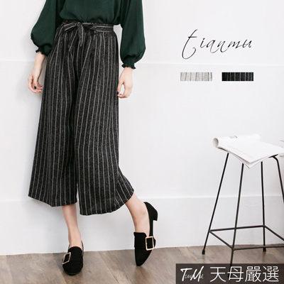 【天母嚴選】 細版直條紋附綁帶鬆緊腰寬褲(共二色)