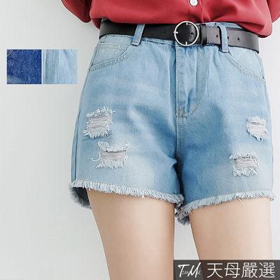 【天母嚴選】復古刷色割破下襬抽鬚牛仔短褲(共二色)
