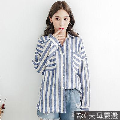 【天母嚴選】前短後長雙口袋條紋寬版長袖襯衫(共三色)