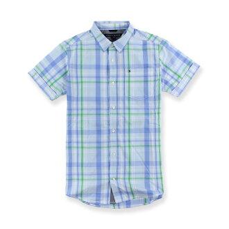 美國百分百【Tommy Hilfiger】TH 男 襯衫 短袖 上衣 休閒 口袋 格紋 淺藍綠色 XS號 I201