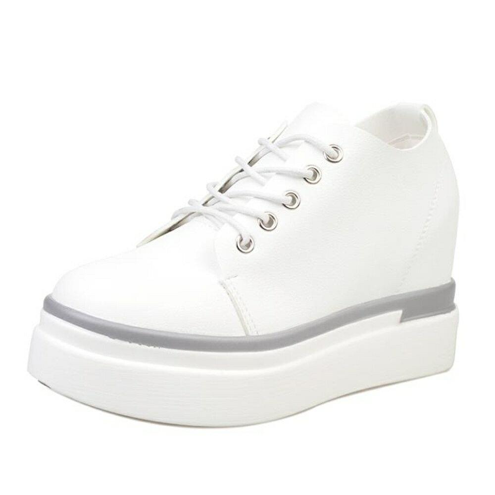 18春秋季新款厚底鬆糕鞋隱形內增高8cm休閒小白鞋系帶韓版女鞋潮