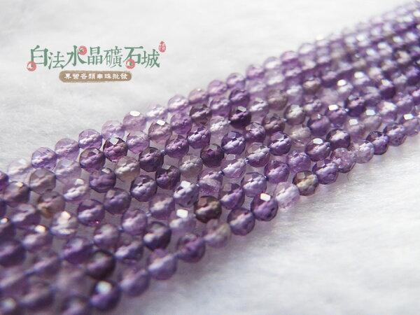 白法水晶礦石城天然巴西-紫水晶2mm切面串珠條珠首飾材料