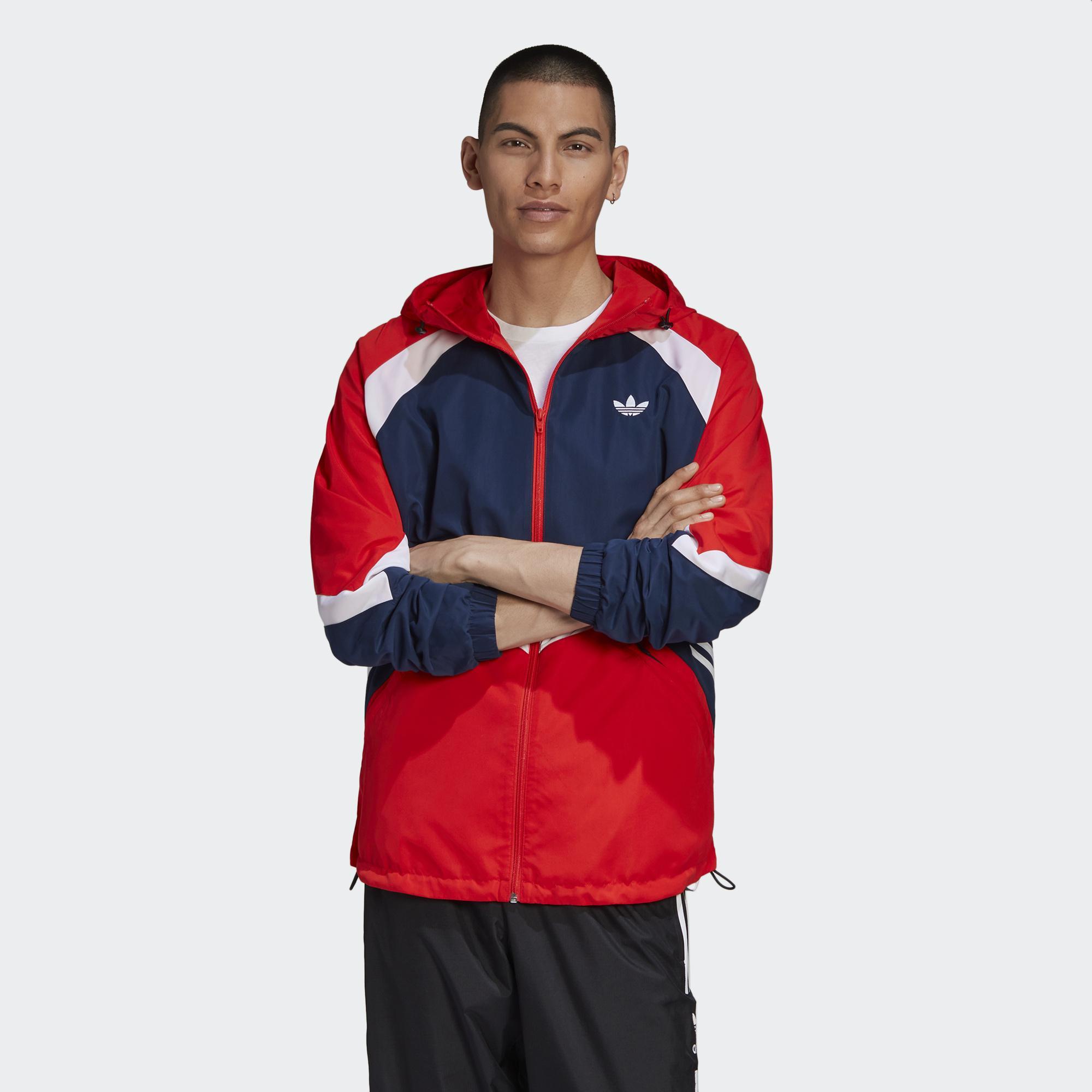 Adidas ORIGINALS SPRT 男裝 外套 連帽 風衣 三葉草 可調式下襬 撞色 紅藍【運動世界】GJ6735