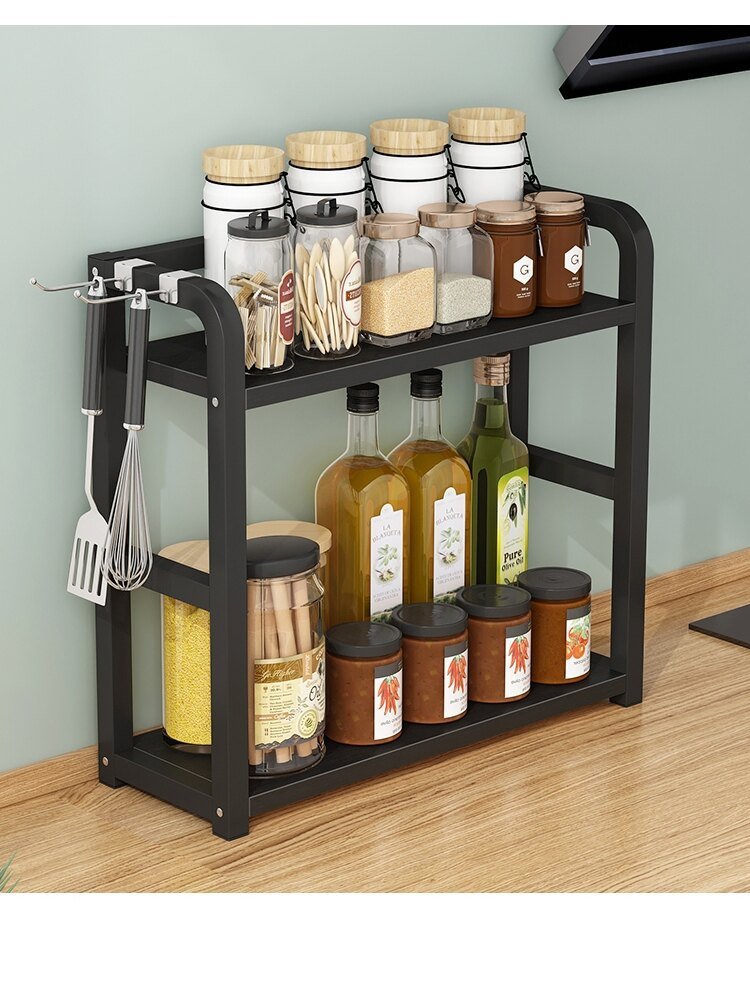 兩用調料架 廚房置物架調料架子台面調味品調味料盒瓶架油鹽醬醋調味罐收納架『XY17671』