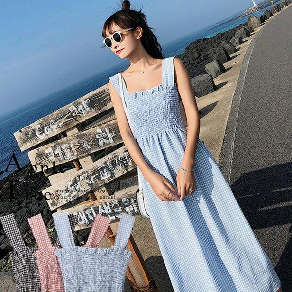 AT日韓-韓國,小清新木耳邊格子洋裝3色【806007】