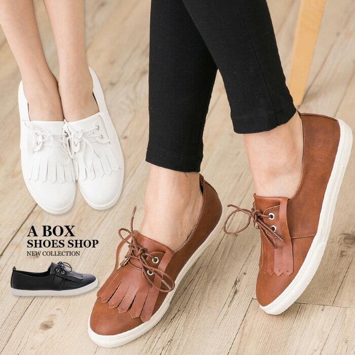 格子舖*【AA655】 MIT台灣製 時尚流行超值新款 綁帶皮革流蘇紳士鞋 小白鞋 圓頭包鞋 3色