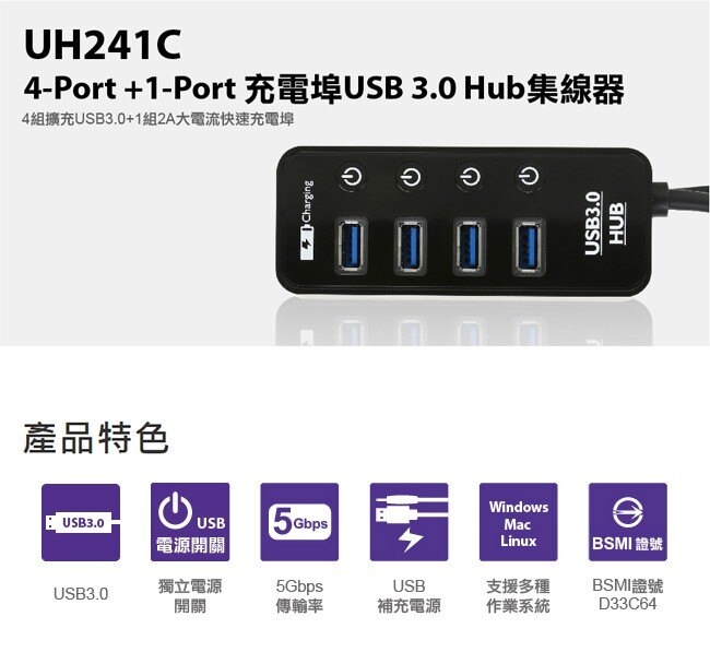 Uptech 登昌恆 UH241C 4~Port  1~Port充電埠 USB 3.0