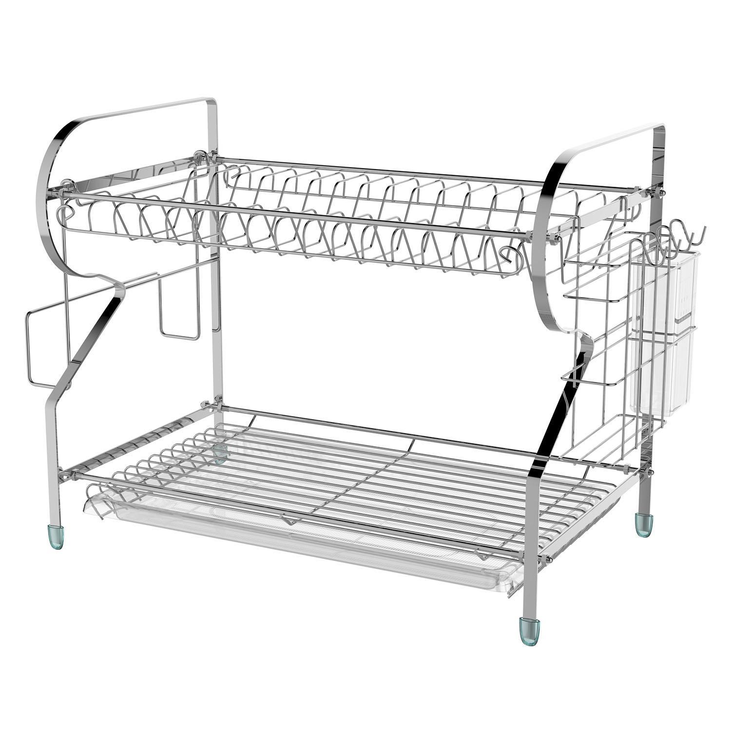 Kitchenware Tools Chef 2 Level Dish Rack Storage with Drying Basket 1