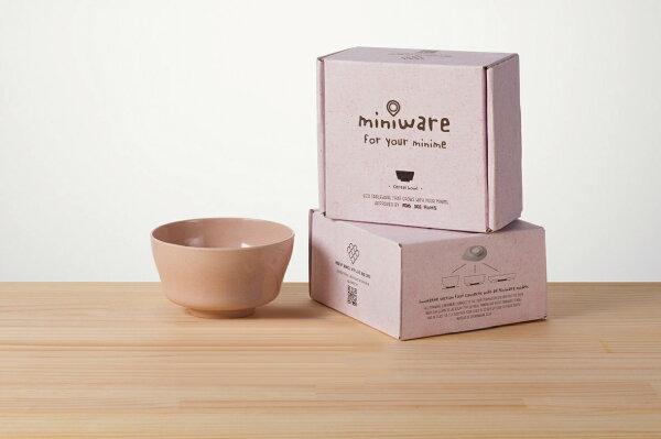 NANABABY:【舊金山設計品牌Miniware】竹纖維兒童學習餐具麥片碗單入(無吸盤)-鮭魚貝果