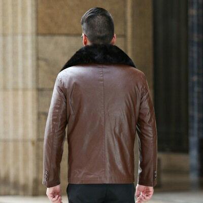 ★皮衣夾克外套-冬季大毛領商務純色男夾克2色73pn13【獨家進口】【米蘭精品】 2